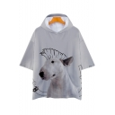 Bull Terrier 3D Dog Printed Short Sleeve Unisex Hooded Loose Fit T-Shirt