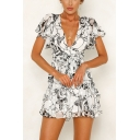 Summer Womens Chic Floral Printed V-Neck Tied Waist Mini A-Line Wrap Dress
