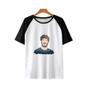 Funny Cartoon Figure Printed Colorblock Short Sleeve Round Neck Unisex T-Shirt
