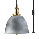 Antique Style Bell Shape Ceiling Light Metal 1 Light Plug In Gray Hanging Light for Dinging Room