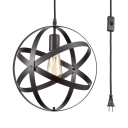 1 Light Globe Ceiling Light Industrial Metal Black Hanging Light with Plug In Cord for Restaurant