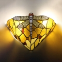 Tiffany Style Dragonfly Pattern Sconce Light Stained Glass Colorful Sconce Light for Bedroom Dining Room