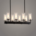 Modern Style Black Island Pendant with Cylinder Shade 8/12 Lights Metal Clear Glass Island Fixture for Bar
