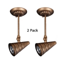 (2 Pack)Aged Bronze Conical Ceiling Light Restaurant Hotel Antique Style Angle Adjustable Spot Light in White/Warm