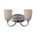 2 Lights Curved Wall Light Industrial Metal Glass Sconce Light in Chrome/Nickel for Kitchen Hotel