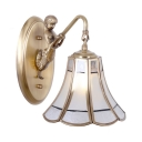 Vintage Style Flower Shade Wall Light 1 Light Metal Sconce Light with Mermaid Decoration for Bedroom