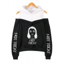 New Trendy Figure Letter NOT TODAY Cold Shoulder Fake Two-Piece Pullover Hoodie