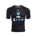 Cool Unique Iron Letter I Love You 3000 Summer Short Sleeve Fitness Slim T-Shirt