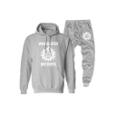 Winchester Btothers Logo Printed Casual Hoodie with Sport Sweat Pants Two-Piece Set
