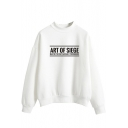 Popular Letter Art Printed Mock Neck Long Sleeve Pullover Sweatshirt