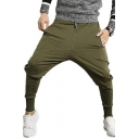 Mens Soft Cotton Simple Solid Drawstring Waist Joggers Harem Pants