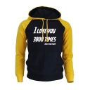 Popular Letter I Love You 3000 Times Fashion Colorblock Pullover Hoodie