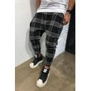 Mens 3D Plaid Printed Casual Cotton Harem Sporty Pants
