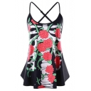 Summer Trendy Floral Printed Black Cami Top for Women