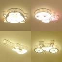 Boy Girl Bedroom Acrylic Ceiling Light Cute Bike/Guitar/Penguin/Bee Shape Warm Lighting/Stepless Dimming Flush Mount Light