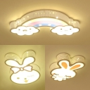 Creative Rabbit/Rainbow Shape Light Fixture Acrylic Warm Lighting/Stepless Dimming Ceiling Mount Light for Boy Girl Room