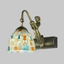 Tiffany Style Dome Wall Lamp 1 Light Glass Sconce Light with Colorful Shell Decoration and Mermaid