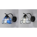 Domed Kitchen Wall Light White/Blue Glass 1 Light Tiffany Style Sconce Light