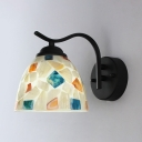 Hotel Shop Dome Shade Wall Light Glass 1 Light Rustic Style Colorful Sconce Light