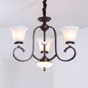 Simple Style Bell Shade Chandelier 3/6/8 Lights Metal Glass Light Fixture for Bedroom Living Room