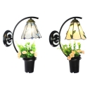 Down Lighting Sconce Light with Plant Decoration 1 Light Rustic Style Glass and Metal Wall Sconce for Study