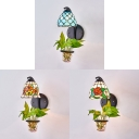 Down Lighting Wall Lamp 1 Light Tiffany Stained Glass Wall Light with Plant Decoration for Bedroom