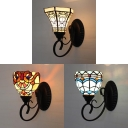 Bowl/Bell Wall Lamp Cafe Restaurant Stained Glass 1 Light Mediterranean Style Sconce Light
