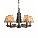 Fabric Metal Tapered Shade Chandelier 5 Lights Rustic Style Hanging Lights for Bedroom Study
