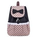 Women's Cute Polka Dot Printed Bow-knot Embellishment Canvas Backpack 36*30*16 CM