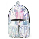 New Trendy Solid Color Double Pockets Patched Zipper Detail Laser School Backpack For Teenage Girls 25*13*39 CM