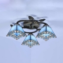 Mediterranean Style Tapered Semi Flush Mount Light Stained Glass 3 Lights Ceiling Lamp for Bedroom