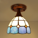 Antique Style Flush Ceiling Light Dome 1 Light Stained Glass Light Fixture for Kitchen