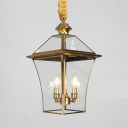 3 Lights Candle Shape Chandelier Vintage Style Clear Glass and Metal Suspension Light for Living Room