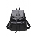 Women's Cool Solid Color Black College Drawstring Backpack 30*14*33 CM