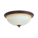Antique Style Dome Flush Ceiling Light Frosted Glass 2/3 Lights Light Fixture for Bedroom