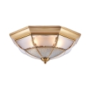Living Room Bowl Ceiling Lamp Metal 3/4/6 Lights Elegant Style Brass Flush Mount Light