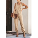Summer Holiday Fashion Plain Sexy V-Neck Drawstring Waist Button Front Pants Jumpsuits For Women