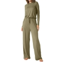 Women's New Simple Plain Long Sleeve Drawstring Wide Legs Pants Jumpsuit