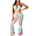 Womens Trendy Pink Tie Dye Halter Neck Open Back Sexy Cutout Flared Pants Jumpsuits