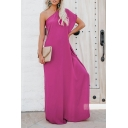 Women's Hot Fashion One Shoulder Solid Color Ruffle side Loose Maxi floor-length Dress