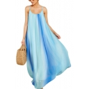 Women's Sexy Light Blue Ombre Color Scoop Neck Sleeveless Maxi Chiffon Slip Beach Dress