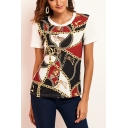 Trendy Chain Printed Womens Round Neck Short Sleeve Stretch Fit T-Shirt