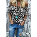 Summer Trendy Polka Dot Printed Off the Shoulder Womens Casual Tee