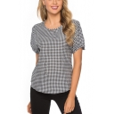 Womens Fashion Black Plaid Printed Bow-Tied Cuff Sleeve Round Neck Casual Tee
