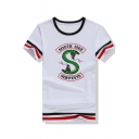 New Stylish Fashion Letter Snake Logo Print Stripe Short Sleeve Summer Casual Tee