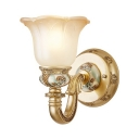 Elegant Style Flower Shade Wall Sconce 1 Light Frosted Metal Wall Lamp with Carved Arm in Brass