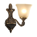 Bell Shade Bedroom Wall Sconce Glass Meta 1/2 Lights Vintage Style Sconce Lamp with Engraving Arm