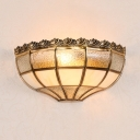 Colonial Style Bowl Sconce Light Metal Glass 2 Lights Sconce Light for Living Room Hotel