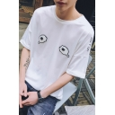 New Fashion Round Neck Short Sleeve Funny Cartoon Tear Print Letter DON'T CRY Casual Cotton Graphic T-Shirt For Men