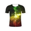 Summer New Trendy 3D Light Printed Basic Round Neck Short Sleeve T-Shirt